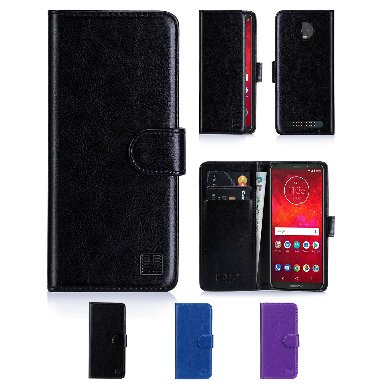 finest selection 8b5b9 724df Motorola Moto Z3 Play PU Leather Book Wallet Case