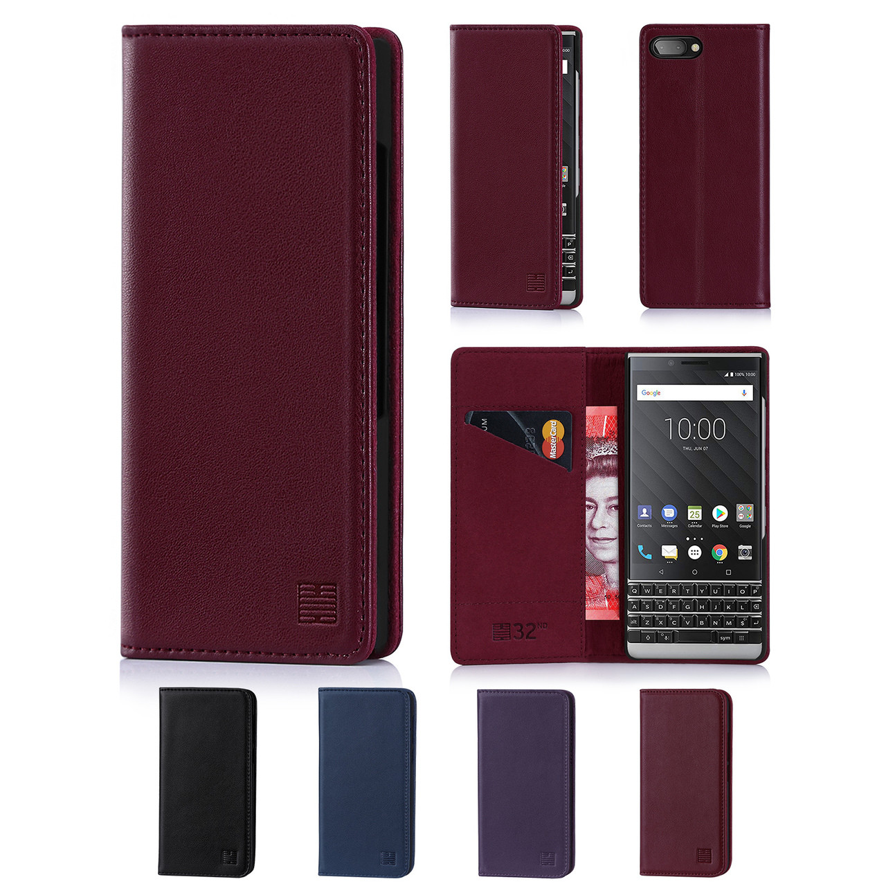 promo code a4dd0 49323 BlackBerry Key2 Classic Real Leather Book Wallet Case