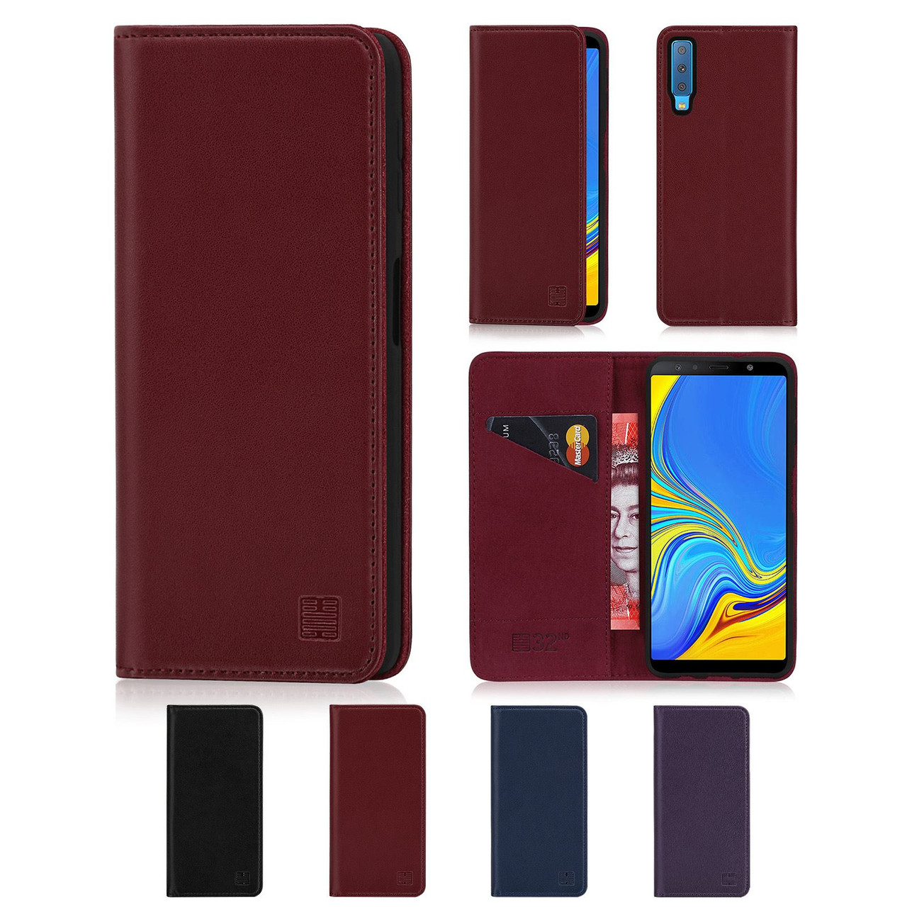 separation shoes ac071 b9fa5 Samsung Galaxy A7 (2018) 'Classic Series' Real Leather Book Wallet Case