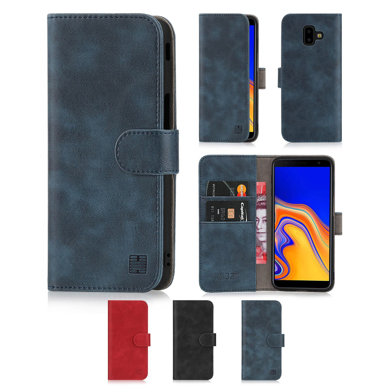 uk availability b64a1 b5aa3 Samsung Galaxy J6 Plus (2018) 'Essential Series' PU Leather Wallet Case  Cover