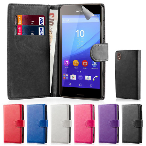 32nd synthetic leather book wallet Sony Xperia M4 Aqua Case in a range of colours.