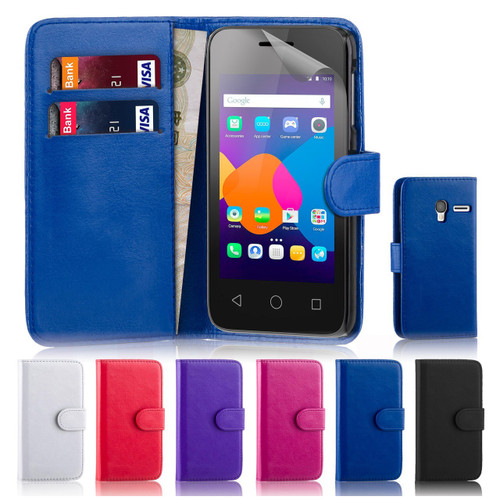 """The 32nd Shop leather book wallet Alcatel Pixi 3 4.0"""" case offer protection and practical features, including screen protector and stylus."""