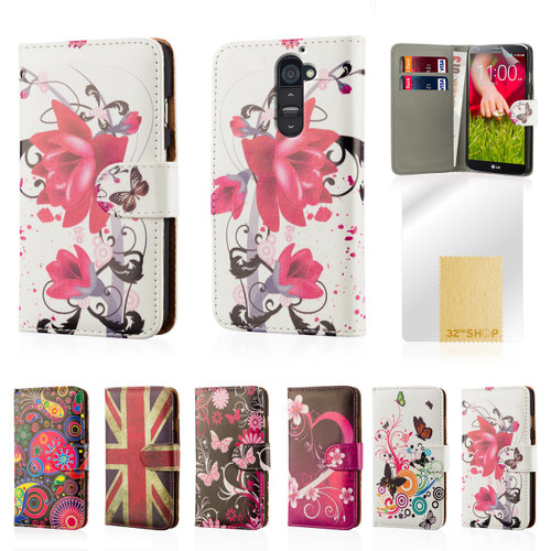 32nd synthetic leather design book wallet LG G2 Case.