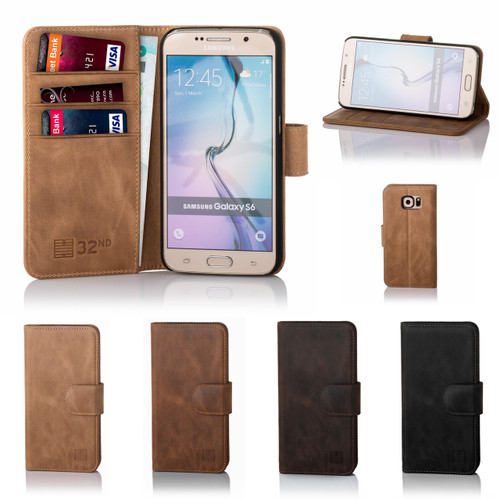 32nd premium leather book wallet Samsung Galaxy S6 Edge Case.
