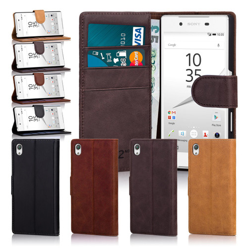 32nd Shop premium leather Sony Xperia Z5 case in a range of 4 natural colours, Hand made from elegant real leather this case features a stand for easy viewing on the go.