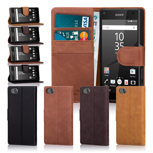 32nd premium leather book wallet Sony Xperia Z5 Compact Case.