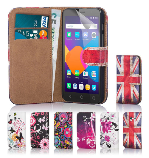 "32nd faux leather design book wallet Alcatel Pixi 4 5.5"" Case."