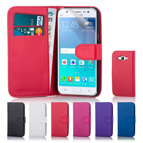 32nd Shop Samsung Galaxy J5 leather book wallet case with a choice of 6 stylish colours with card slots and storage, including screen protector and stylus.