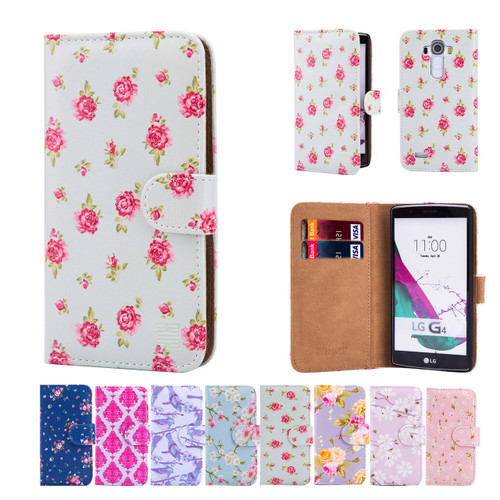 32nd faux leather floral design book wallet LG G4 Case.