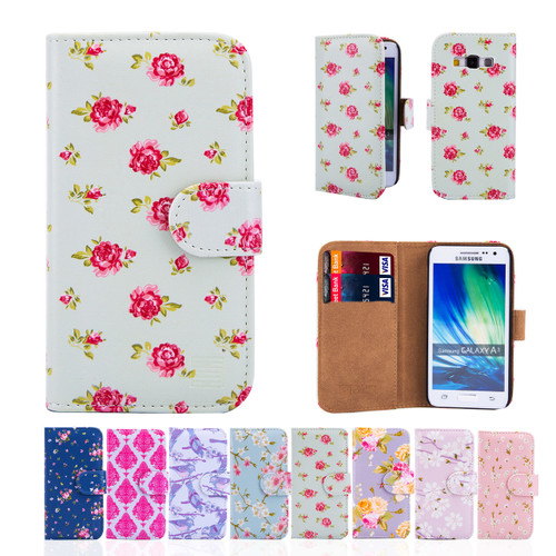32nd synthetic leather floral design book wallet Samsung Galaxy A3 (2015) Case.