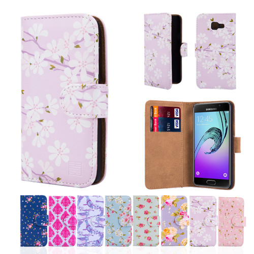 new style b2427 7dcee Samsung Galaxy A3 (2016) PU Leather Floral Design Book Wallet Case