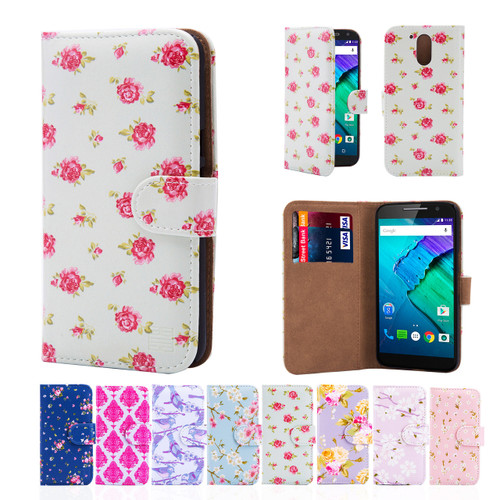32nd synthetic leather floral design book wallet Motorola Moto G4 Plus Case.
