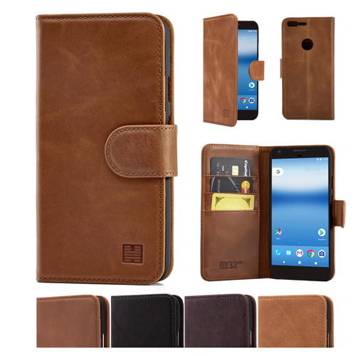 32nd premium Italian leather book wallet Google Pixel Case.