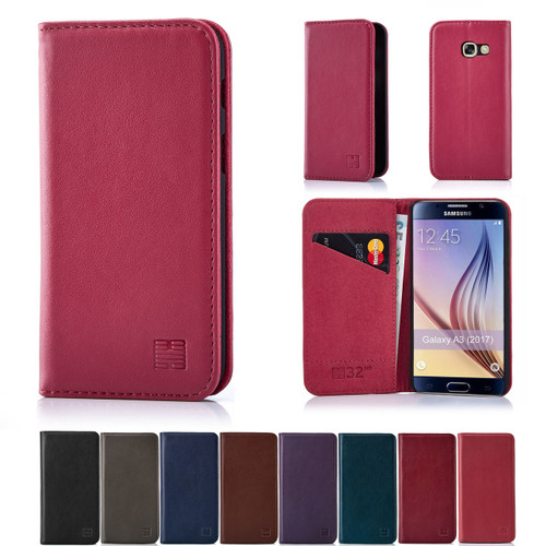 half off a6ed1 a1750 Samsung Galaxy A3 (2017) Classic Real Leather Book Wallet Case