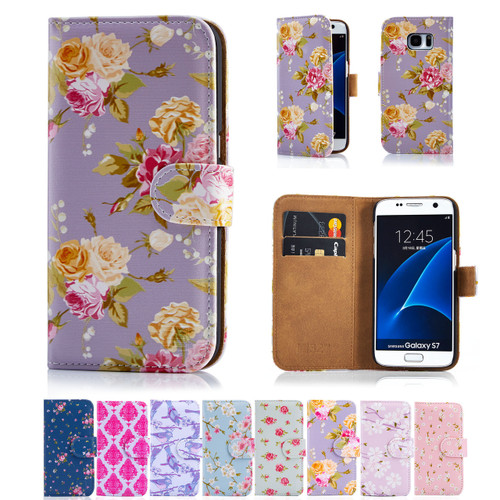 6718185f57e Samsung Galaxy S7 PU Leather Floral Design Book Wallet Case