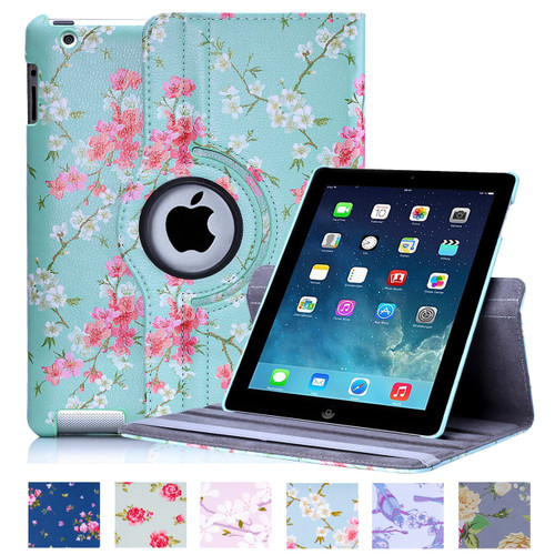 32nd synthetic leather floral design book wallet Apple iPad 2/3/4 Case.