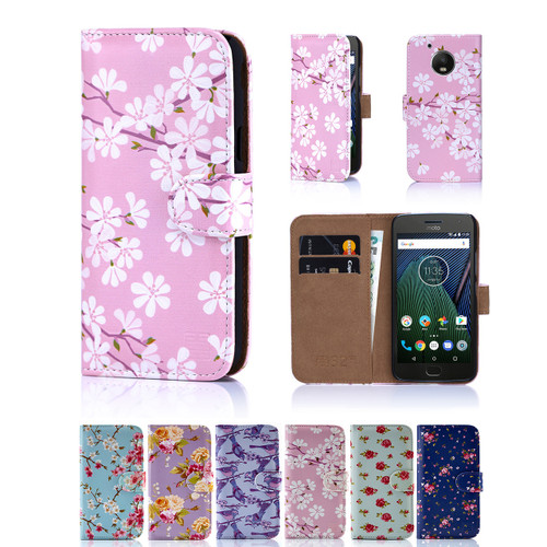 32nd synthetic leather floral design book wallet Motorola Moto G5 Case.
