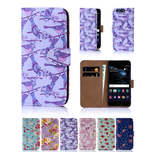 32nd synthetic leather floral design book wallet Huawei Ascend P10 Case.