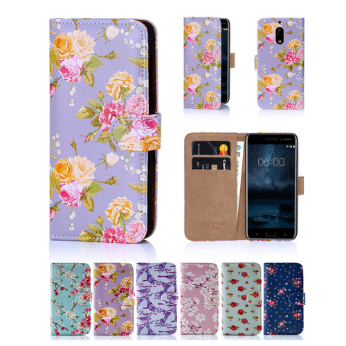 32nd faux leather floral design book wallet Nokia 6 (2017) Case.