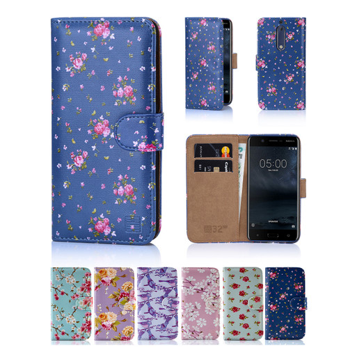 32nd faux leather floral design book wallet Nokia 5 (2017) Case.