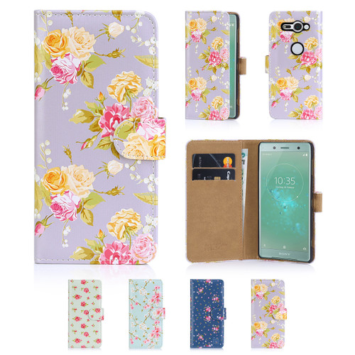 32nd synthetic leather floral design book wallet Sony Xperia XZ2 Compact Case.