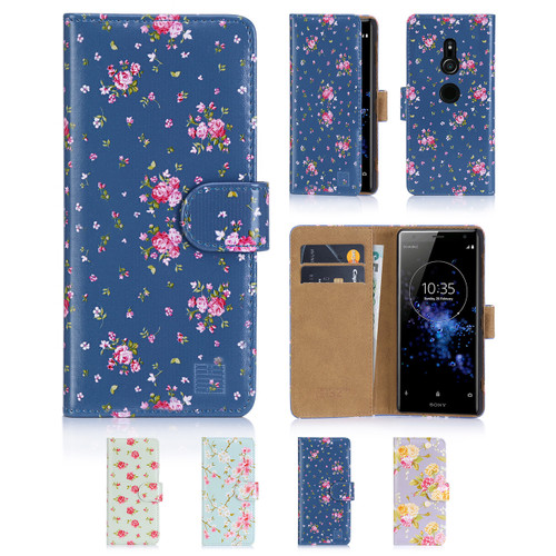 32nd synthetic leather floral design book wallet Sony Xperia XZ2 Case.