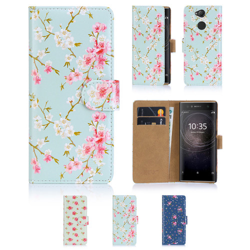 32nd synthetic leather floral design book wallet Sony Xperia XA2 Case.