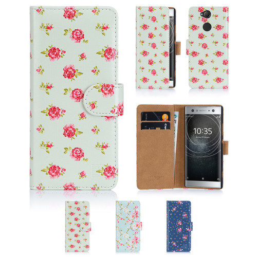 32nd synthetic leather floral design book wallet Sony Xperia XA2 Ultra Case.