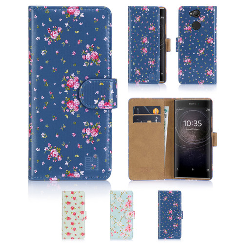 32nd synthetic leather floral design book wallet Sony Xperia L2 Case.