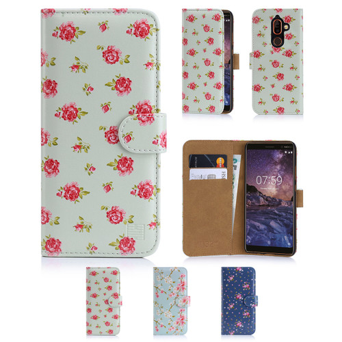 32nd synthetic leather floral design book wallet Nokia 7 Plus Case.