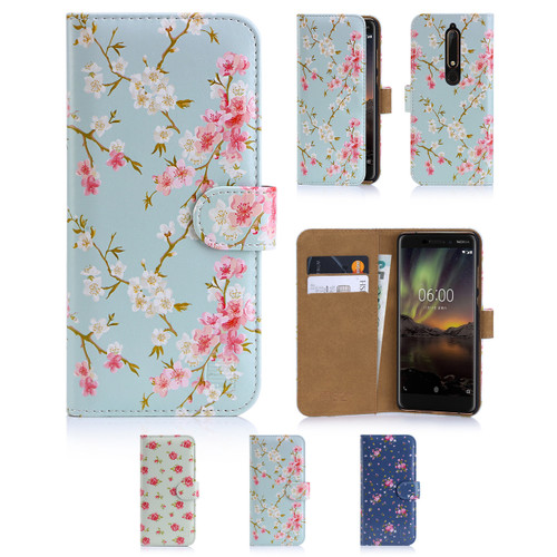 32nd synthetic leather floral design book wallet Nokia 6.1 Case.