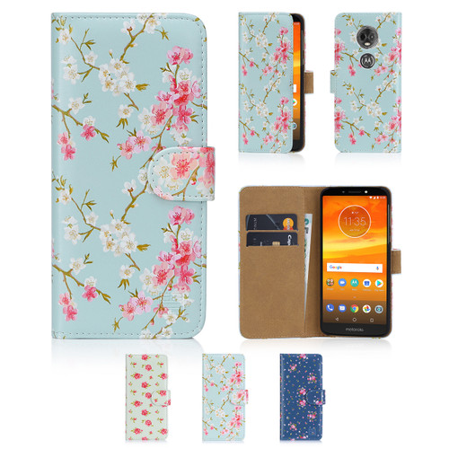 32nd synthetic leather floral design book wallet Motorola Moto E5 Plus Case.