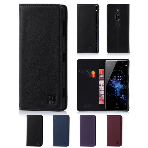 Sony Xperia XZ2 Premium 'Classic Series' Real Leather Book Wallet Case