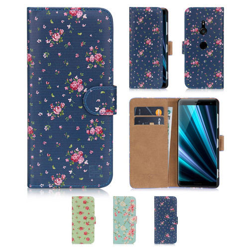 Sony Xperia XZ3 'Floral Series' PU Leather Design Book Wallet Case