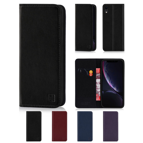 Apple iPhone XR 'Classic Series' Real Leather Book Wallet Case