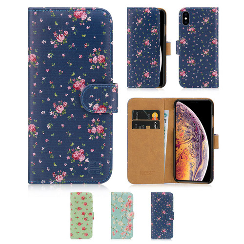 Apple iPhone XS Max 'Floral Series' PU Leather Design Book Wallet Case