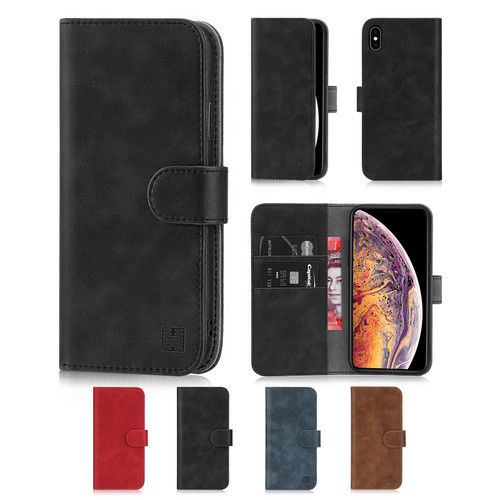 Apple iPhone XS Max 'Essential Series' PU Leather Wallet Case Cover