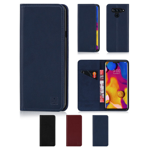 LG V40 ThinQ 'Classic Series' Real Leather Book Wallet Case
