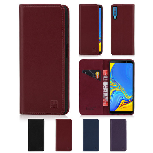 Samsung Galaxy A7 (2018) 'Classic Series' Real Leather Book Wallet Case