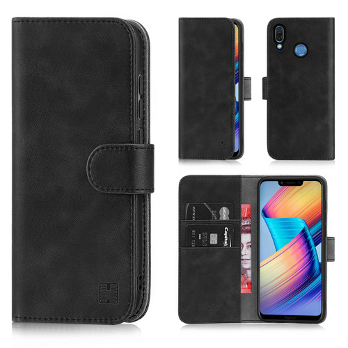 Huawei Honor Play 'Essential Series' PU Leather Wallet Case Cover - Black