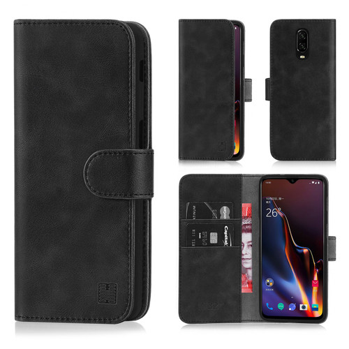 OnePlus 6T 'Essential Series' PU Leather Wallet Case Cover - Black