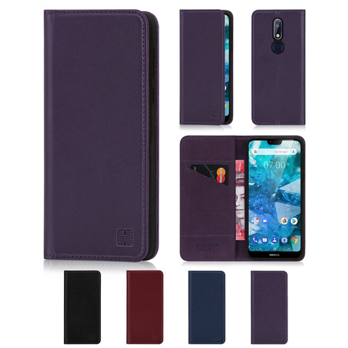 Nokia 7.1 (2018) 'Classic Series' Real Leather Book Wallet Case