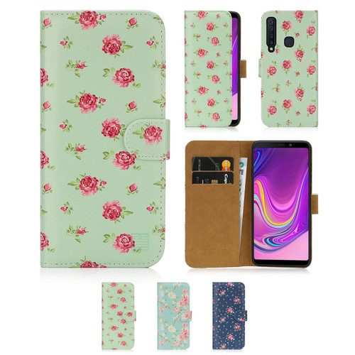 Samsung Galaxy A9 (2018) 'Floral Series' PU Leather Design Book Wallet Case