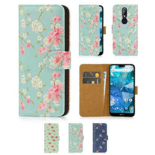 Nokia 7.1 (2018) 'Floral Series' PU Leather Design Book Wallet Case
