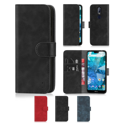 Nokia 7.1 (2018) 'Essential Series' PU Leather Wallet Case Cover