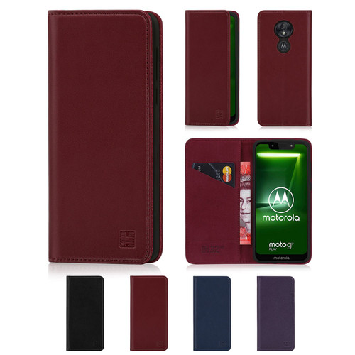 Motorola Moto G7 Play 'Classic Series' Real Leather Book Wallet Case