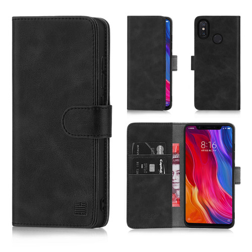 Xiaomi Mi 8 'Essential Series' PU Leather Wallet Case Cover - Black