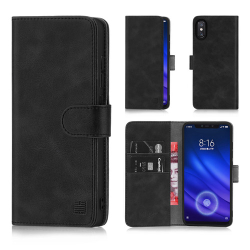 Xiaomi Mi 8 Pro 'Essential Series' PU Leather Wallet Case Cover - Black