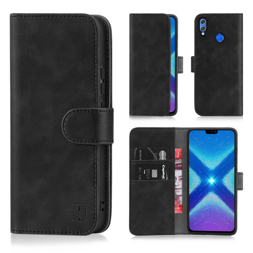 Huawei Honor 8X 'Essential Series' PU Leather Wallet Case Cover - Black