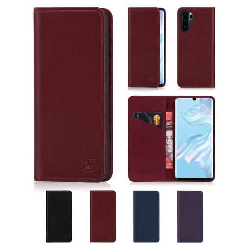 Huawei P30 Pro 'Classic Series' Real Leather Book Wallet Case